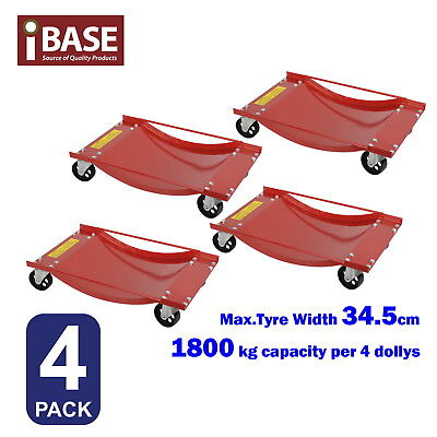 4x WHEEL DOLLY VEHICLE TROLLEY JACK SKATE MECHANICS MOVER POSITIONING 1800KG