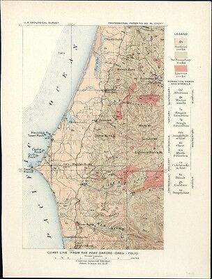 Pacific coast Oregon Port Orford 1908 color litho small chart USGS map