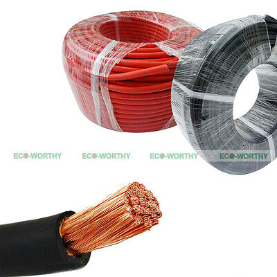 ECO Welding Cable Red Black 1/0 2/0 4/0 Gauge Copper Wire Battery Solar Leads
