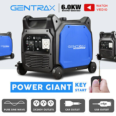 GenTrax 6.0kVA Max 5.5KW Rated Remote Start Inverter Generator Portable Camping