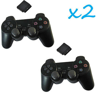 2X New Black Wireless Shock Game Controller for Sony PS2