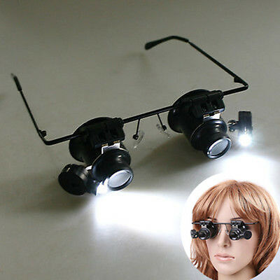 20X Magnifier LED Eyes Jeweler Watch Repair Magnify Glass Loupe Adventure Climb
