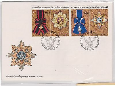 (H18-123) 1988 Thailand 2envelopes 4stamps royal decorations 2nd series