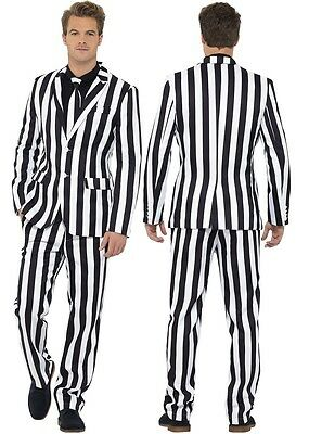 Mens Barcode Humbug Stand Out Suit Stag Do Halloween Fancy Dress Costume Outfit