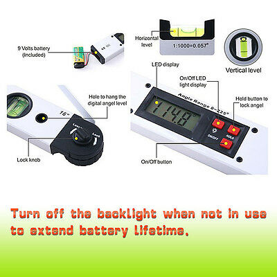 Digital LCD Angle Finder Protractor Spirit Level Measuring Tool 0~225°