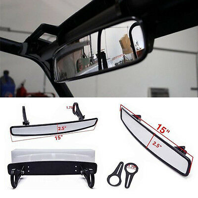 "15""x2.5"" Polaris RZR800 XP900 XP1000 UTV Wide Rear View Race Mirror &1.75"" Clamp"