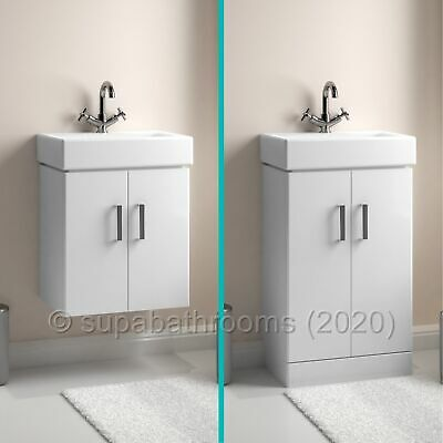 Gloss White Minimalist 450 Vanity Unit Wall Hung Floor Tap Bathroom Cloakroom