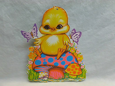 Vtg Retro Psychedelic Hippie Muhroom Easter Chick Wall Door Hanging Decoration