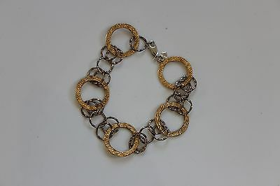 14K Yellow Gold & Sterling Silver Circle Link Bracelet 7.5 inches 6 grams - NEW