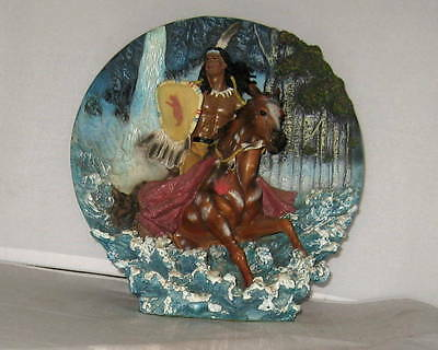 """Native American Indian Warrior Horse 3 DIMENSIONAL TABLE ART SCULPTURE PLATE 8"""""""