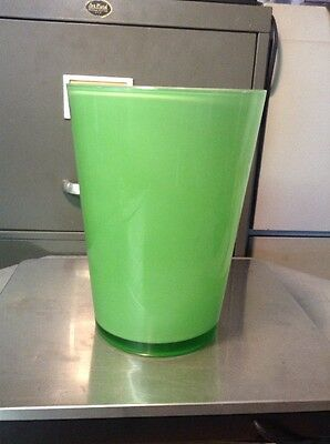 Signed Anne Nilsson Lime Green Vase 8 Inch Tall