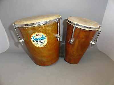 Sunda Professional Vintage Rear Bongos Conga Drum Double Twin  Bongo Wood Indian