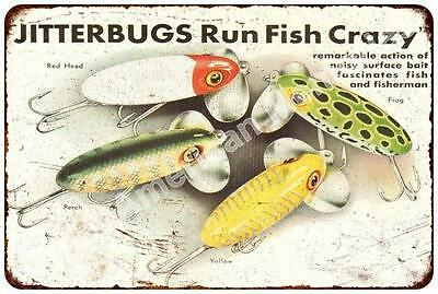 Jitterbugs Run Fish Crazy Vintage Look Reproduction Metal Sign 8x12 8122672