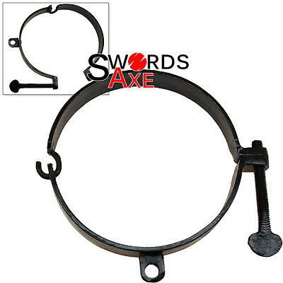 Dungeon Medieval Collar - Neck Shackles Ring Cuff Black Iron Forged Handmade