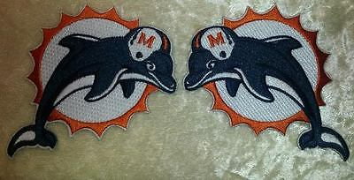 Miami Dolphins Old Style Left/Right Sleeve Iron On Embroidered Patch SET