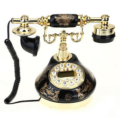Retro Vintage Resin Desk Corded Telephone Phone Home Business Room Black