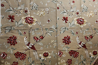 "SCALAMANDRE Tan Linen Orienteaux Birds 30"" & 38"" Fabric Pieces Chinoiserie"