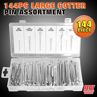 144PC Large Cotter Pin Split Fixings Securing Pins Assortment in Case SDY-19028