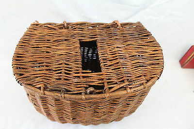 "13"" x 8 x 9"" deep English whicker basket Trout fishermans creel, use or display"