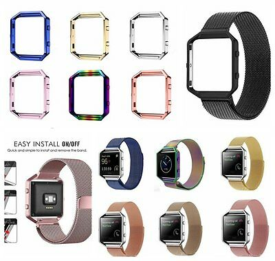 Magnetic Loop Stainless Steel Wrist Watch Band Strap Frame Case For Fitbit Blaze