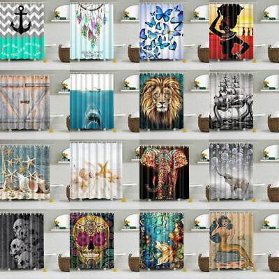 Various Pattern Shower Curtain with Ring Hooks Waterproof Bathroom Drapes Panel