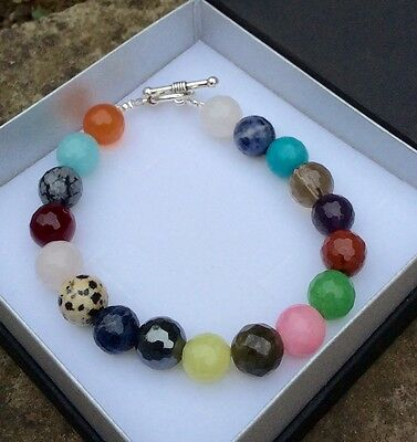 Natural faceted gemstone bracelet. Healing crystals 12mm beads. Irish made