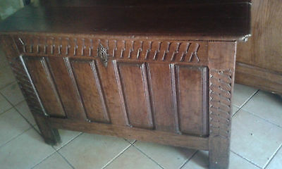 Large Antique Late 18Thc French Solid Oak Kist/coffre /chest From Paris As Found
