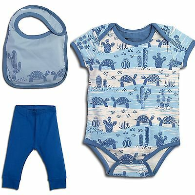 Organic Cotton Infant BOY Onesie Matching Set Of 3 By PACT Size 6-12M *NEW*