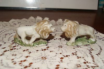 Vintage...lot Of 2.....bisque....ceramic.....lion's....figurines...japan