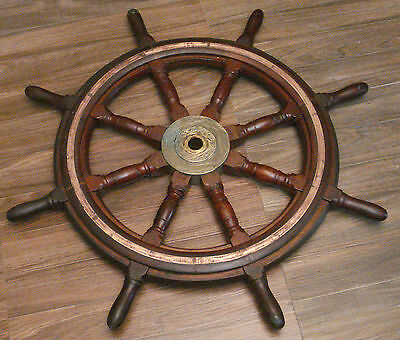 Real ANTIQUE ship's STEERING - HELM - Wooden & Brass - LARGE - SHIP'S ORIGINAL