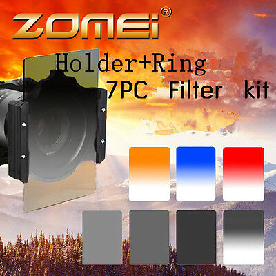 Zomei ND2 4 8+Gradual blue Red 9 in1 filter Kit+Holder+77mm ring For Cokin Z-Pro