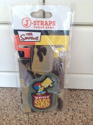Great Bart Simpson Skateboard Phone Bag Brown Army Camouflage Bnwt