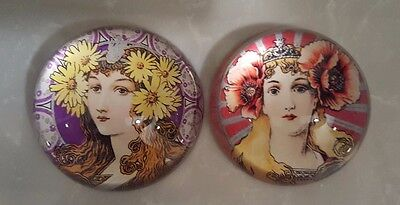 Lot of 2 Art Nouveau Glass Paperweight from Tozai w/Original Boxes