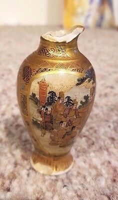 Antique Japanese Satsuma mini vase - -earthenware crackeling - made by Gyokuzan