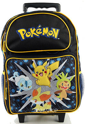 "Pokemon 16"" Large School Roller Backpack Boy Rolling Bag Pikachu NEW"