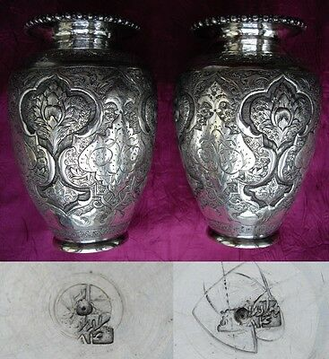 MIDDLE EASTERN ANTIQUE PERSIAN SOLID SILVER ISLAMIC VASE PAIR - 304 gr 10 oz