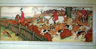 Antique Lithograph Print FOX HUNT Scene Hunting Dogs Hounds Horses Harry Eliott