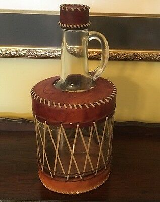 "UNIQE - VINTAGE MOONSHINE ERA LEATHER WRAPPED GLASS JUG  12.5"" TALL 1.5 Liters"