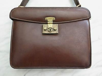 GUCCI VINTAGE 1950s COLLECTIBLE BROWN LEATHER HAND BAG