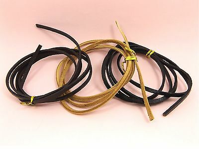 1M - 2M x Genuine 3mm Flat LEATHER CORD for DIY Making ~Black / Brown / Natural~