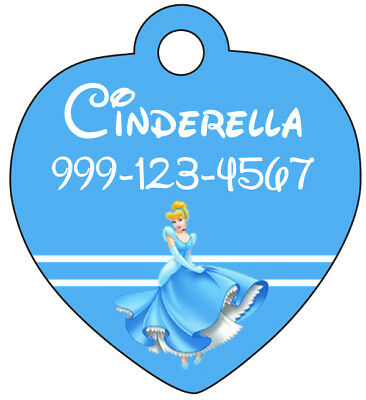 Disney Cinderella Pet Id Tag for Dogs & Cats Personalized w/ Name & Number