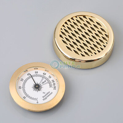 Round GOLD Color Smoking Tobacco Hygrometer + Humidifier for Cigar Humidors New