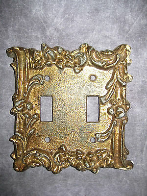 Vintage Edmar Brass Fancy Floral Double Gang Switchplate Cover