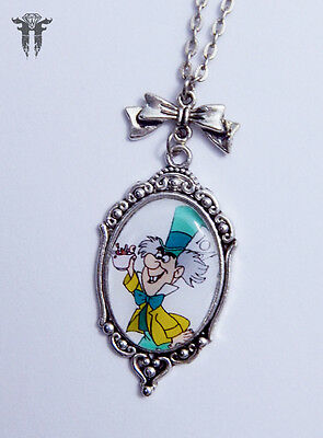 Mad Hatter Tea Alice in Wonderland Inspired Altered Art Cameo Necklace