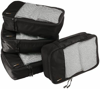AmazonBasics Packing Cubes Small (4-Piece Set) Black