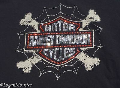 Harley Davidson Large Black Top Bones Spiderweb Crystals Tucson Arizona
