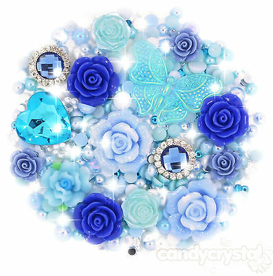 'Blue Lagoon' Blue & Aqua Cabochon Pearl & Gems Set Decoden Kit Kawaii Craft UK