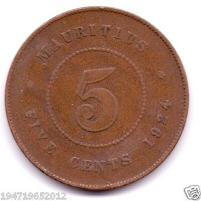 Mauritius 5 Cents, 1924 King George V Extra Fine  Rare Coin Mintage Only 400000