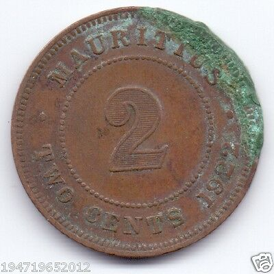 1922 Mauritius 2 Cents Copper ,King George V  coin. Rare Key Date