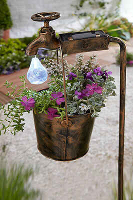 Solar Powered Tap Light & Bucket Planter Hanging Basket Garden Patio Ornament